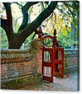 Gate In Brick Wall Canvas Print