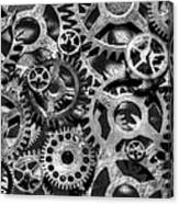 Gears Of Time Black And White Canvas Print