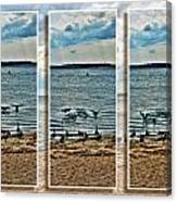 Geese Point Landing Triptych Canvas Print