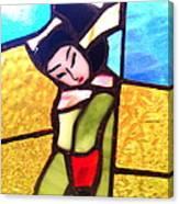 Geisha In Doorway Canvas Print