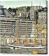 Genova Cruising And Sailing Ships And Buildings Landscape Canvas Print