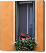 Geraniums In A Yellow Window In Treviso Italy Canvas Print
