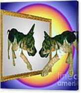German Shepherd Puppy In Mirror Canvas Print