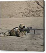 German Soldier Firing A Barrett M82a1 Canvas Print