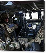 German Soldiers Seated In A Uh-60l Canvas Print