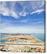 Gibraltar Airport Runway And La Linea Town Canvas Print