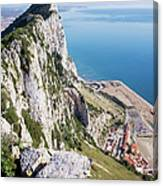 Gibraltar Rock And Mediterranean Sea Canvas Print