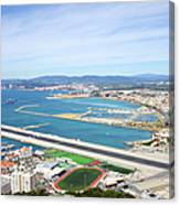Gibraltar Runway And La Linea Cityscape Canvas Print