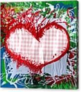 Gingham Crazy Heart Canvas Print