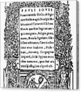 Giovio: Title Page, 1525 Canvas Print
