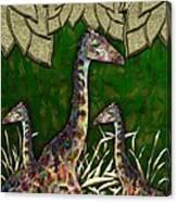 Giraffes In A Golden Forest Canvas Print