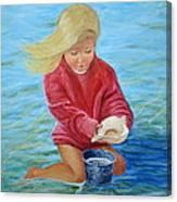 Girl At Beach #2 Canvas Print