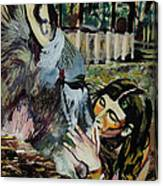 Girl Kissing Donkey Canvas Print