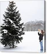 Girl Measuring Tree Height Canvas Print