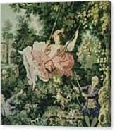 Girl Swinging Tapestry Canvas Print