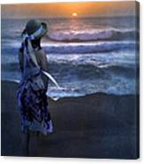 Girl Watching The Sun Go Down At The Ocean Canvas Print