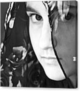 Girl With A Rose Veil 3 Bw Canvas Print