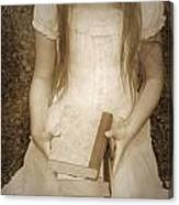 Girl With Books Canvas Print