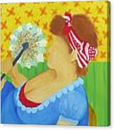 Girl With Fan Canvas Print
