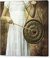 Girl With Gong Canvas Print