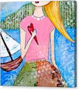 Girl With The White Boat Canvas Print