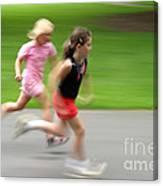 Girls Running Canvas Print