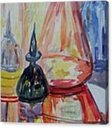 Glass Bottles Still Life Canvas Print