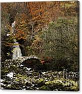 Glen Lyon Falls And Pack Bridge Scotland Canvas Print