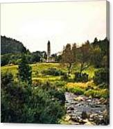 Glendalough Stream And Tower Canvas Print