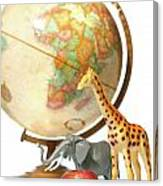 Globe With Toys Animals On White Canvas Print