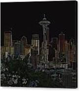 Glowing Seattle Skyline Canvas Print