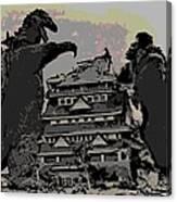 Godzilla And King Kong Hanging Out In Tokyo Canvas Print