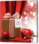 Gold Christmas Gift Box And Ornaments With Sparkle Lights  Canvas Print