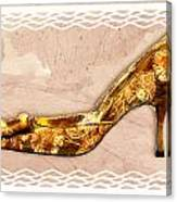 Golden Floral Royalty Shoe Canvas Print
