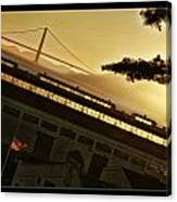 Golden Gate And Flag  Canvas Print