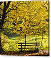 Golden October - Bench And Yellow Trees In Fall Canvas Print