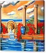 Golden Pillers Reflection Pond Canvas Print