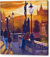 Golden Prague Charles Bridge Sunset Canvas Print