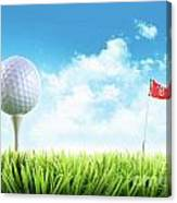Golf Ball With Tee In The Grass  Canvas Print