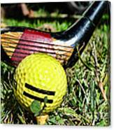 Golf - Tee Time With A 3 Iron Canvas Print