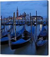 Gondolas At Dusk In Venice Canvas Print