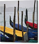 Gondolas At Harbor On A Misty Day Canvas Print