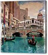 Gondolas On The Canal - Impressions Canvas Print