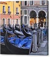 Gondolas On The Canal Canvas Print