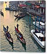 Gondolieri At Grand Canal. Venice. Italy Canvas Print