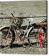 Good Ole Times Bike And Hand Pump Canvas Print