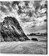 Goscar Rock Tenby 2 Mono Canvas Print