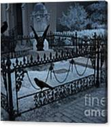 Gothic Surreal Night Gargoyle And Ravens - Moonlit Cemetery With Gargoyles Ravens Canvas Print
