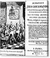 Gourmands Almanac, 1806 Canvas Print