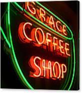 Grace Coffee Shop Neon Canvas Print